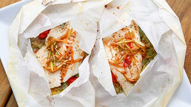 asian style walleye en papillote recipe