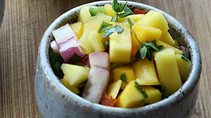 This fresh mango recipe for salsa is great on grilled fish, chicken, pork or with chips.