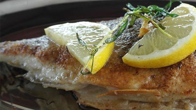 sand bass with hot melted butter
