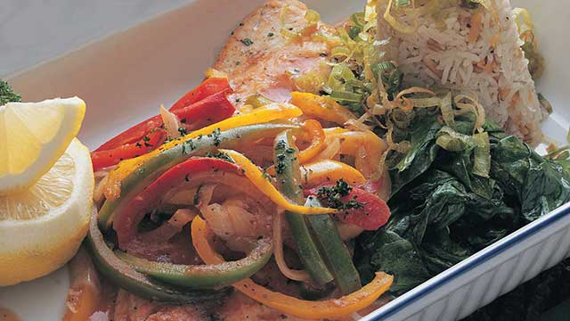 walleye baked with sweet peppers and onions